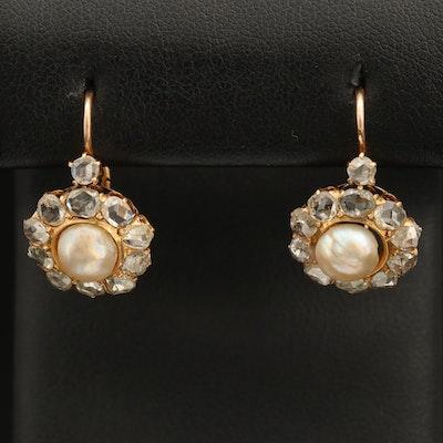 Early Victorian 18K Pearl and 1.55 CTW Rose Cut Diamond Drop Earrings