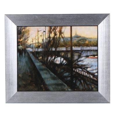 "Embellished Offset Lithograph After Desmond O'Hagan ""Along the Seine"""