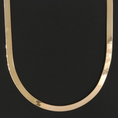 Italian 10K Herringbone Chain Necklace