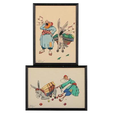 M. Feri Studio Hayrapetian Watercolors, Circa 1960
