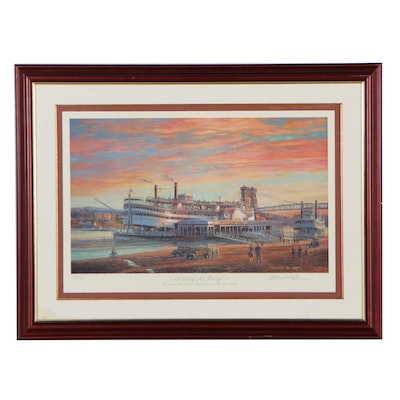 """Michael Blaser Offset Lithograph """"Heading for Coney"""""""