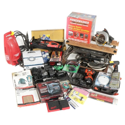 Tool Box, Workmate Pressure Washer, and Other Hand and Battery Operated Tools