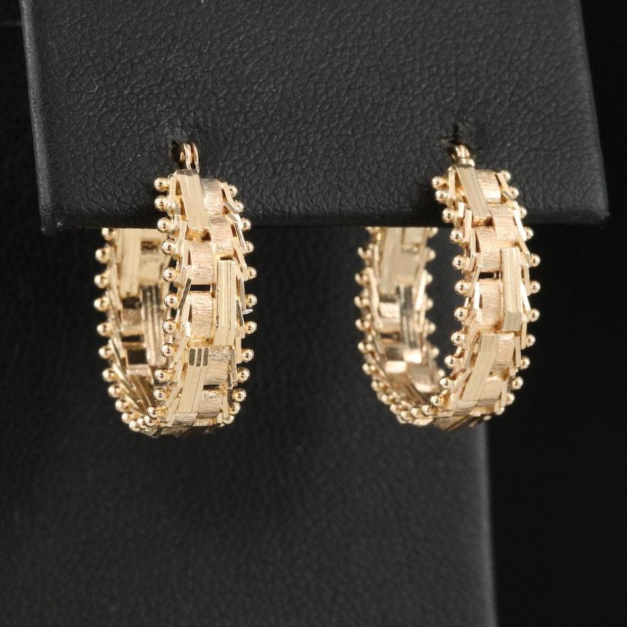 14K Riccio Chain Hoop Earrings