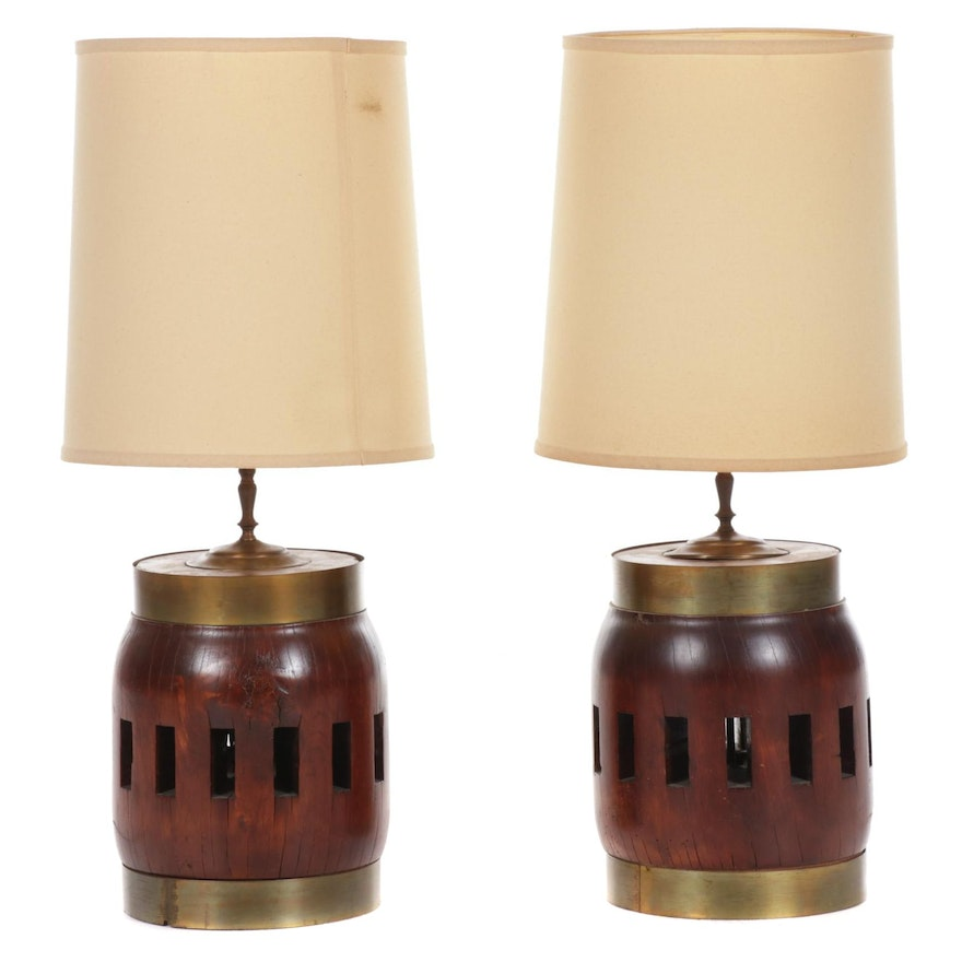 Pair of Wagon Wheel Axle Table Lamps, Mid to Late 20th Century