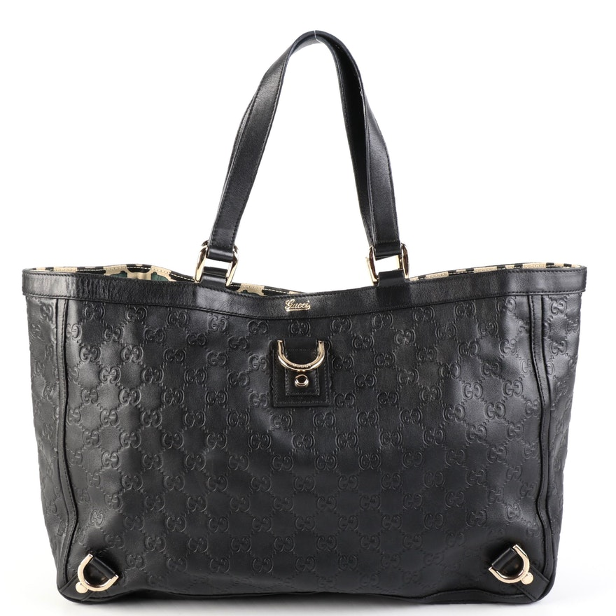 Gucci Abbey D-Ring Tote Bag in Black Guccissima Leather