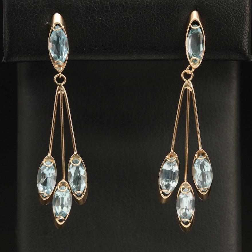 14K Sky Blue Topaz Articulated Drop Earrings