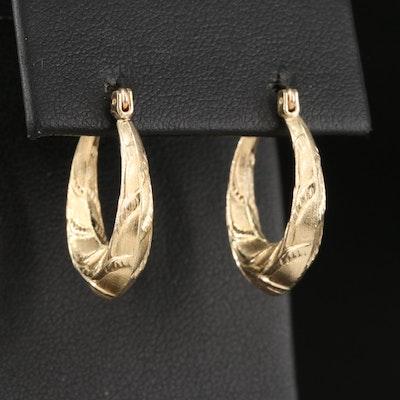 14K Acanthus Leaf Hoop Earrings