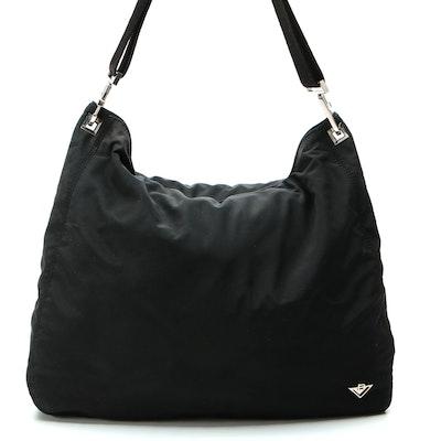 Bottega Veneta Reversible Pochette Hobo Bag in Black and Leopard Print Nylon