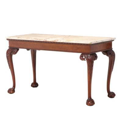 Baker Chippendale Style Mahogany Console Table with Marble