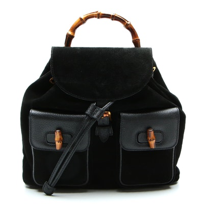 Gucci Bamboo Backpack in Black Leather and Suede