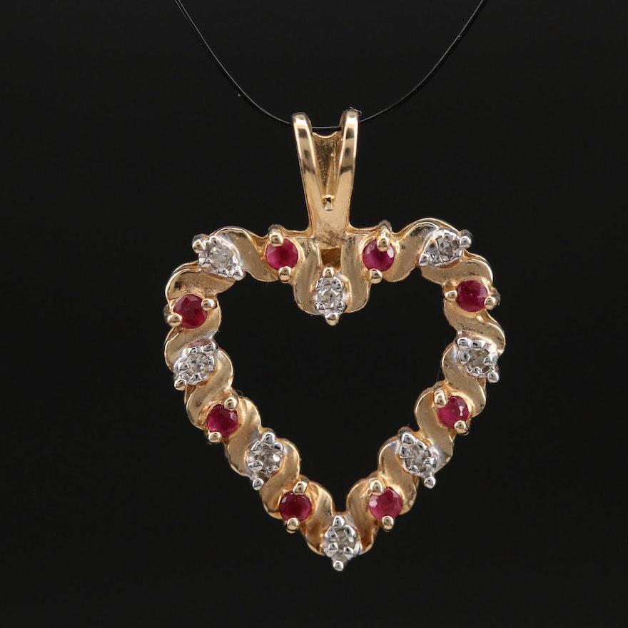 10K Ruby and Diamond Heart Pendant
