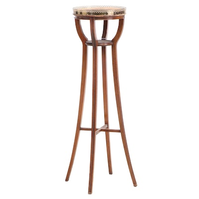 Regency Style Brass-Galleried Mahogany Plant Stand