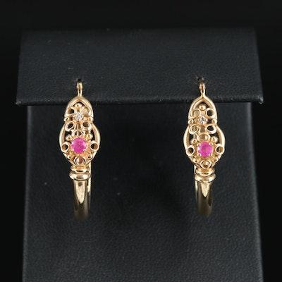 14K Ruby and Diamond Elongated Hoop Earrings