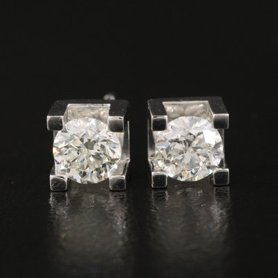 14K 0.92 CTW Diamond Square Setting Stud Earrings