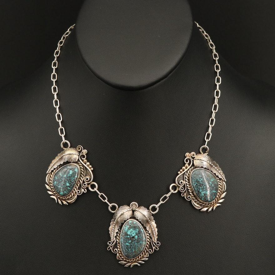 Vintage C. Manning Navajo Diné Turquoise Feather Appliqué Necklace