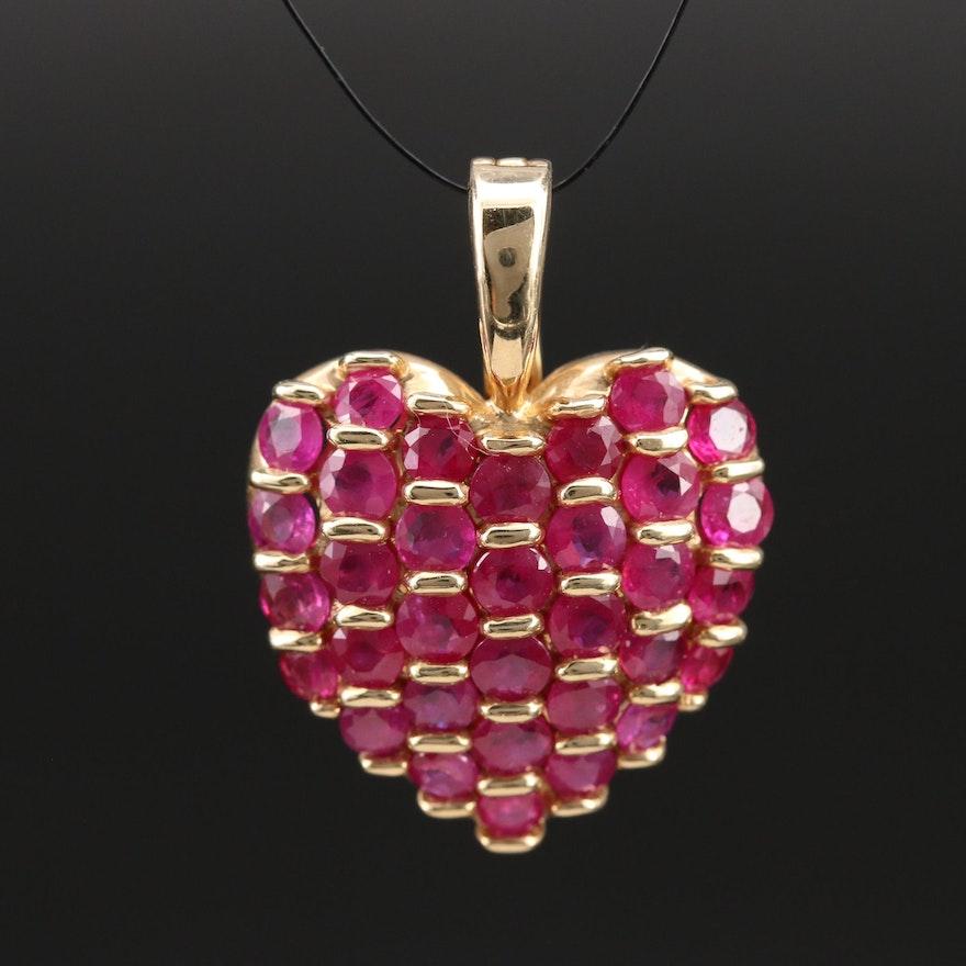 14K Ruby Heart Enhancer Pendant