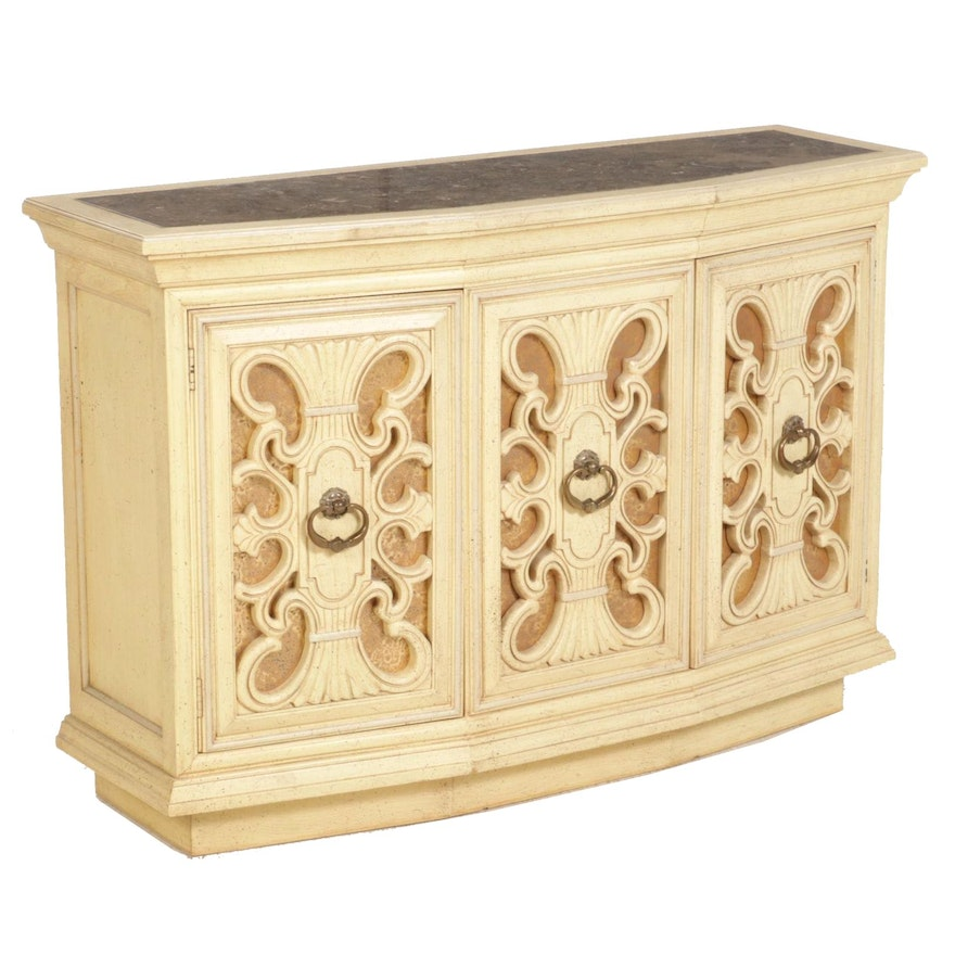 Painted Wood and Marble Top Console Cabinet, Late 20th Century