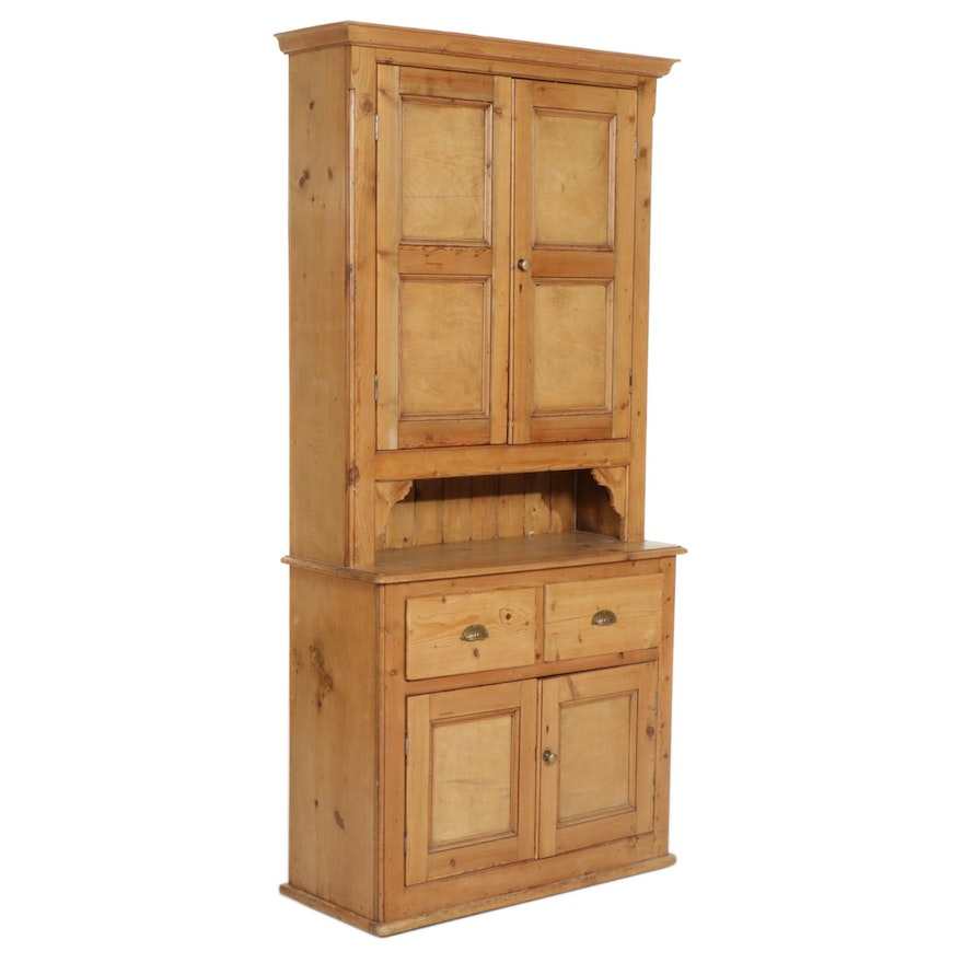 Pine Step-Back Cupboard, Early 20th Century