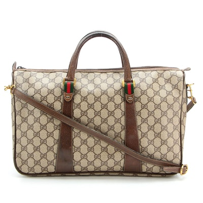 Gucci Accessory Collection GG Coated Canvas and Leather Two-Way Bag