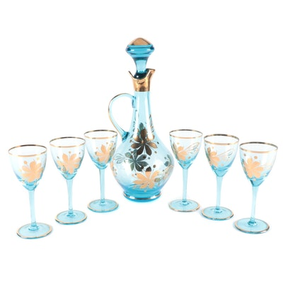 Blue Glass with Hand-Painted Gilt Accents Decanter and Glasses