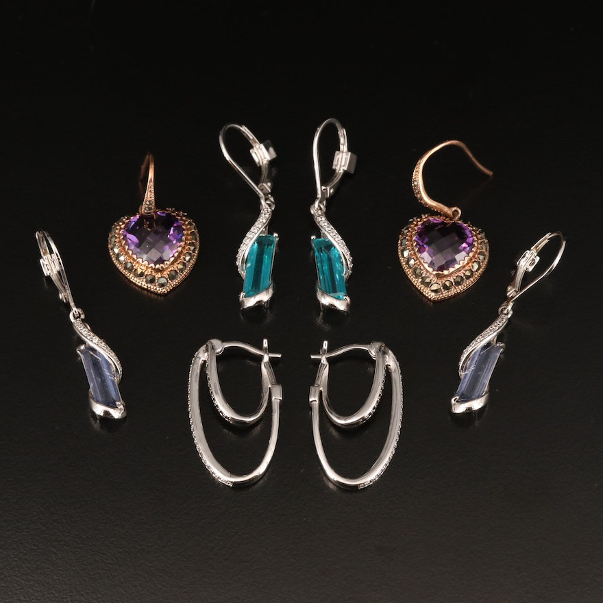 Sterling Earrings Including Elle, Marcasite and Cubic Zirconia