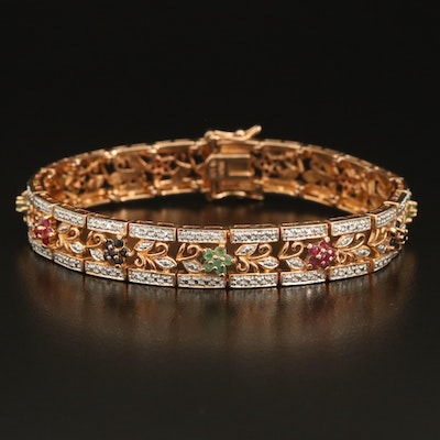 Sterling Floral Bracelet Including Ruby, Sapphire, and Emerald
