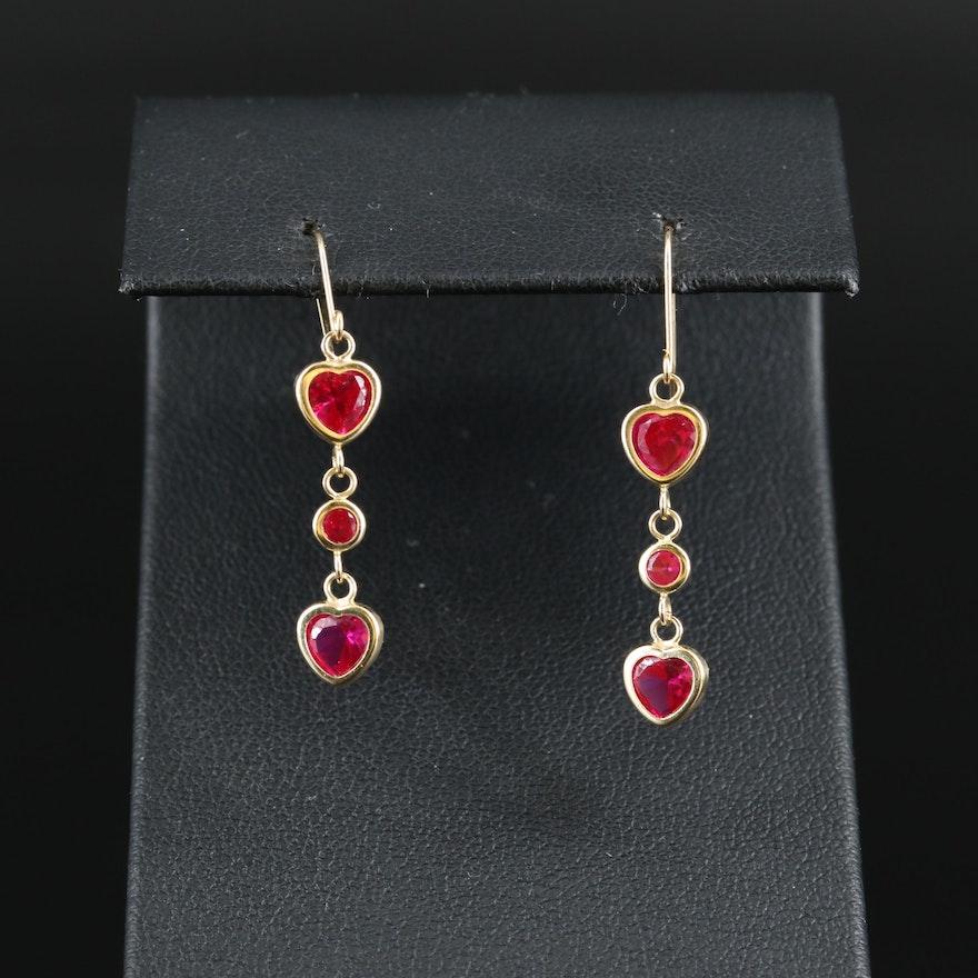 14K Ruby Heart Drop Earrings