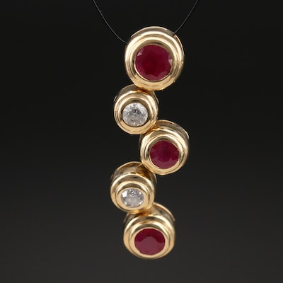 14K Ruby and Diamond Articulated Pendant