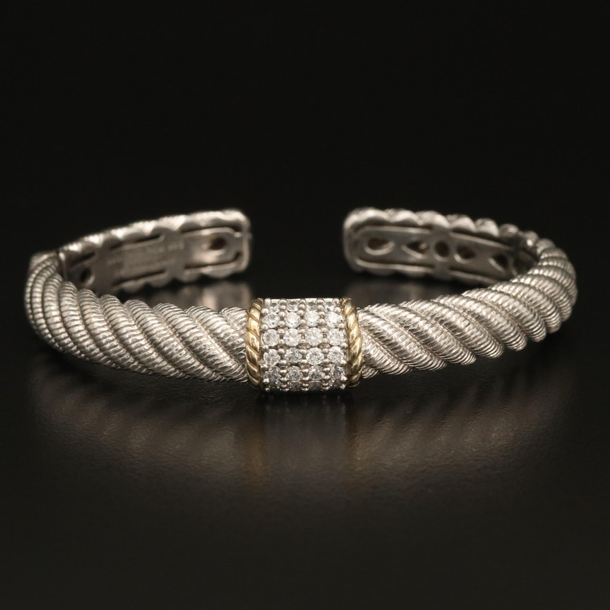 Judith Ripka Fluted Cuff Bracelet with Cubic Zirconia