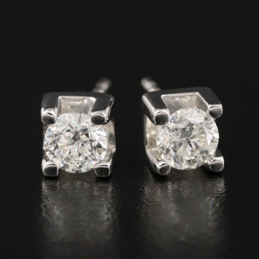 14K 0.83 CTW Diamond Square Setting Stud Earrings
