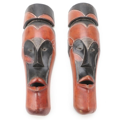 West African Wood Polychrome Wall Hanging Masks