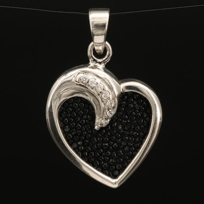 Sterling Cluster Heart Pendant with Cubic Zirconia