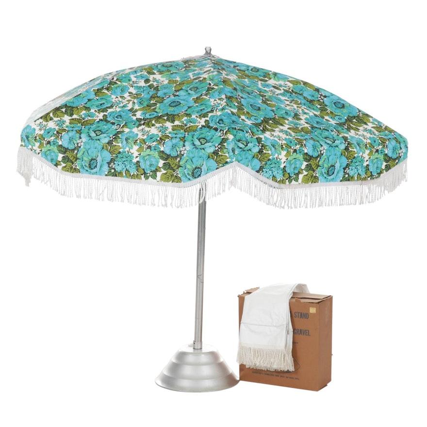 Sunmaster Mid Century Modern Floral Patio Umbrella, 1960s