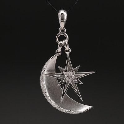 Eva LaRue Sterling Diamond Crescent Moon and Starburst Pendant