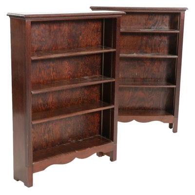 Pair of Adjustable Walnut and Pine Bookcases, Late 20th Century