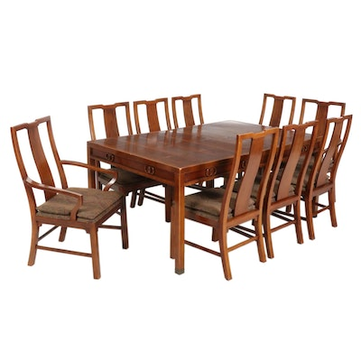 """Michael Taylor for Baker """"Far East Collection"""" Walnut 10-Piece Dining Set"""