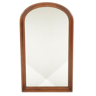 Walnut Arched Top Wall Mirror, Late 20th Century