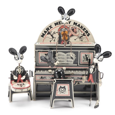 """Marx """"Merry Makers"""" Mouse Band Tin Litho Wind-Up Toy, circa 1930"""