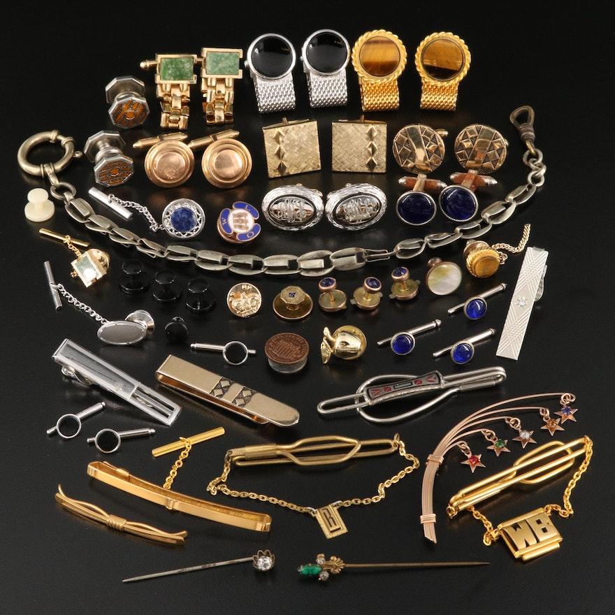 Vintage Cufflinks, Pins and Tie Clips Featuring Krementz Cufflinks