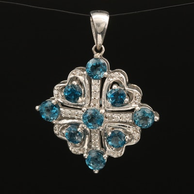 Sterling London Blue Topaz and Diamond Openwork Heart Pendant