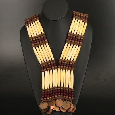 Lakota Type Woman's Bone Hairpipe Bead Breastplate