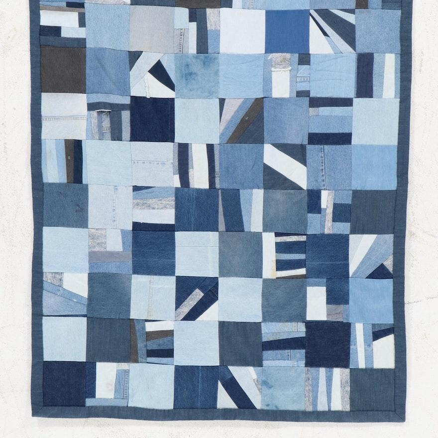 Handmade Denim Patchwork Pieced Quilt