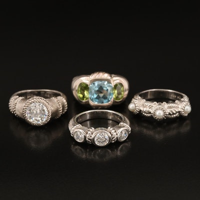 Judith Ripka Sterling Rings Including Topaz, Peridot and Cubic Zirconia