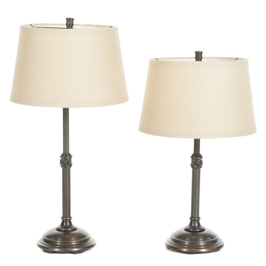 Pair of Height Adjustable Bronzed Metal Table Lamps