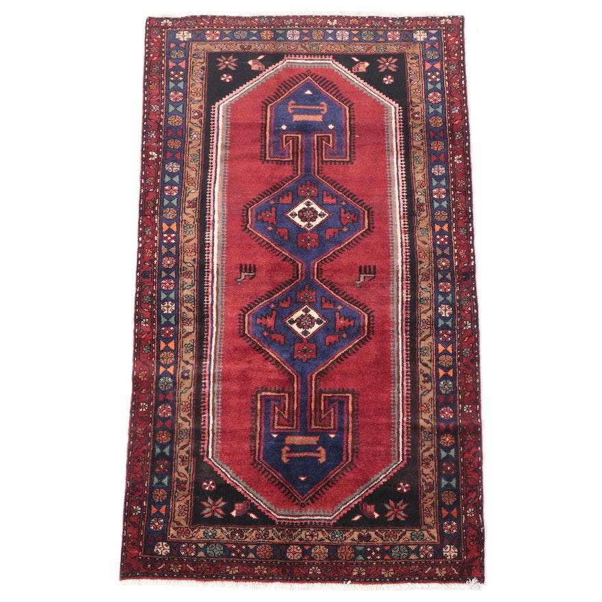 4'3 x 7'5 Hand-Knotted Persian Hamadan Area Rug