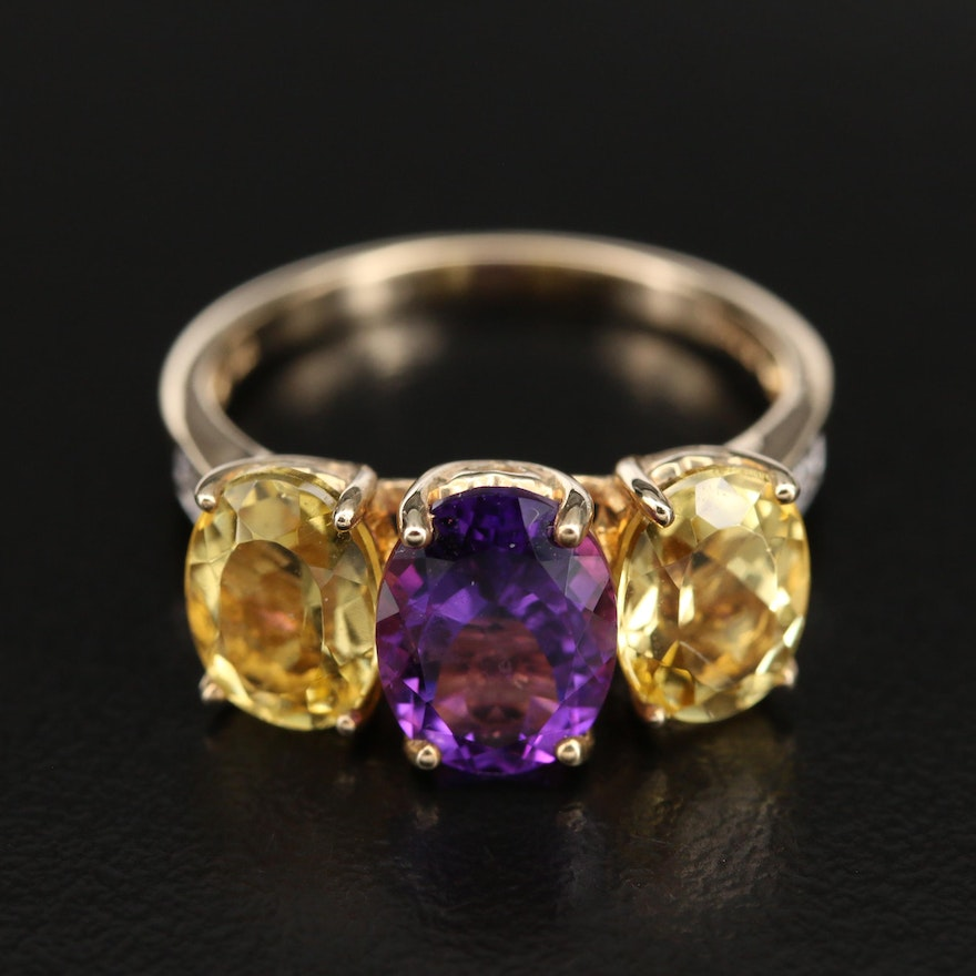 10K Amethyst and Helidor Ring with 0.03 CTW Diamond Shoulders