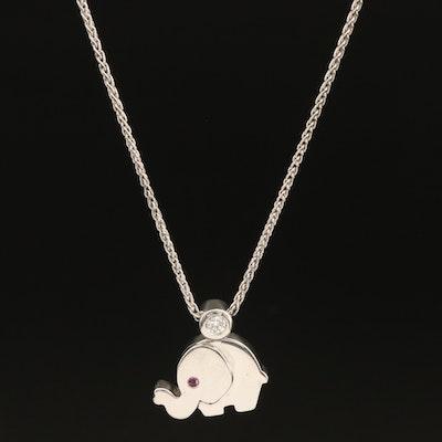 18K 0.08 CT Diamond and Ruby Elephant Pendant Necklace