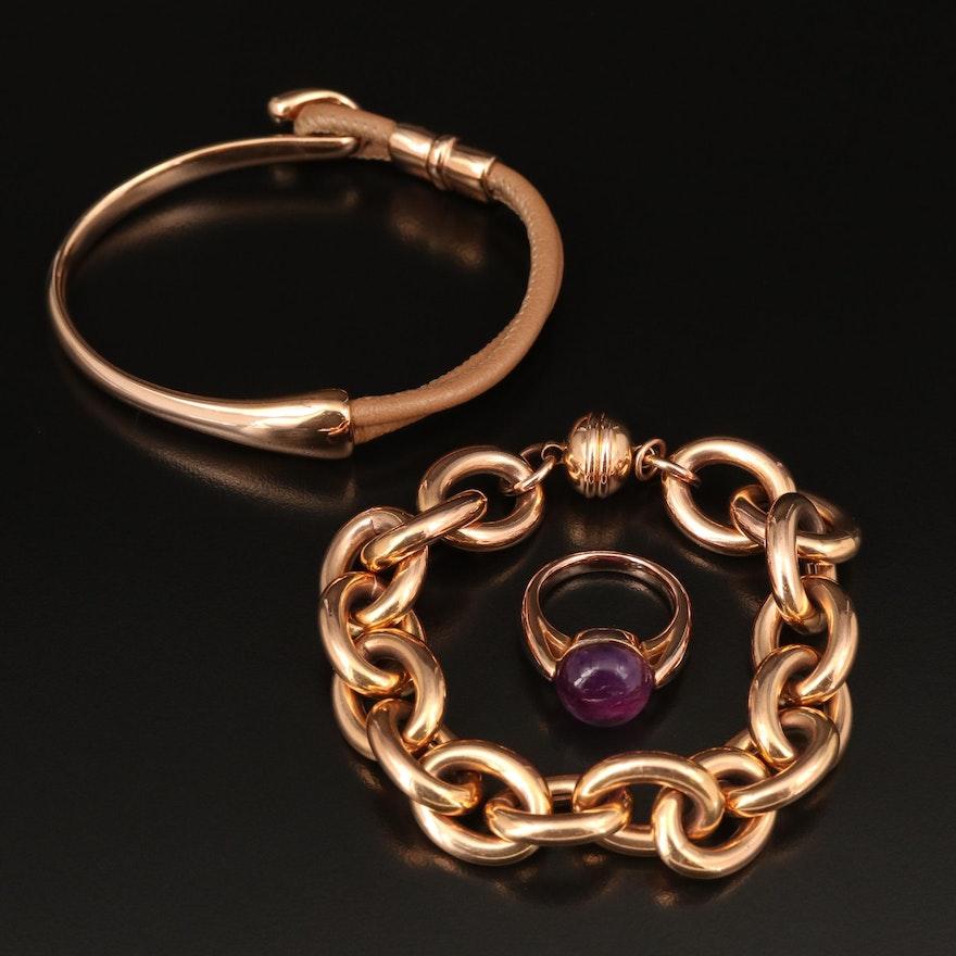 Italian Milor Bronze Bracelets and Amethyst Ring
