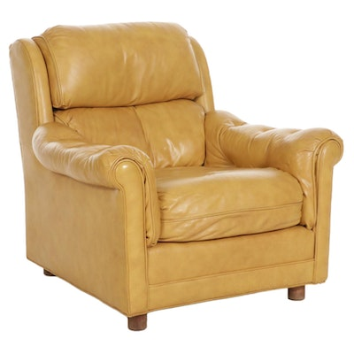 Classic Leather Button Tufted Leather Lounge Chair