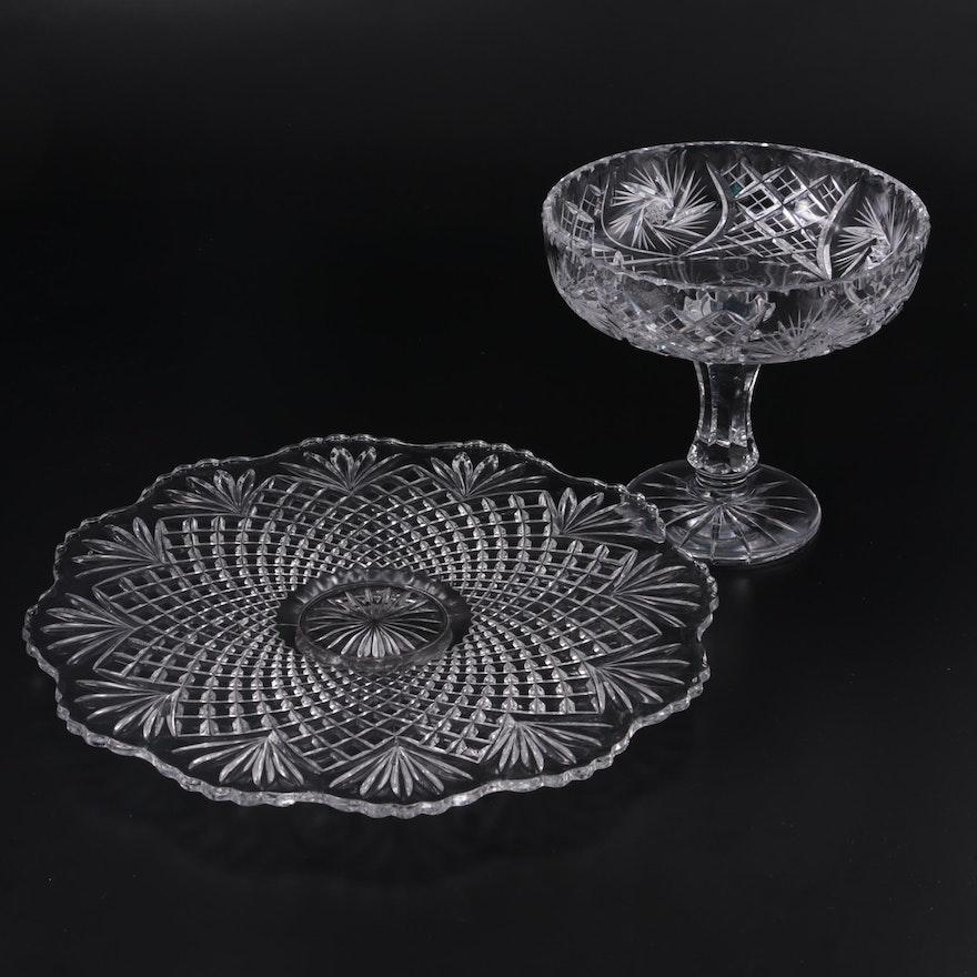 """Tiffin-Franciscan """"Fan & Diamond"""" Torte Plate & American Brilliant Style Compote"""